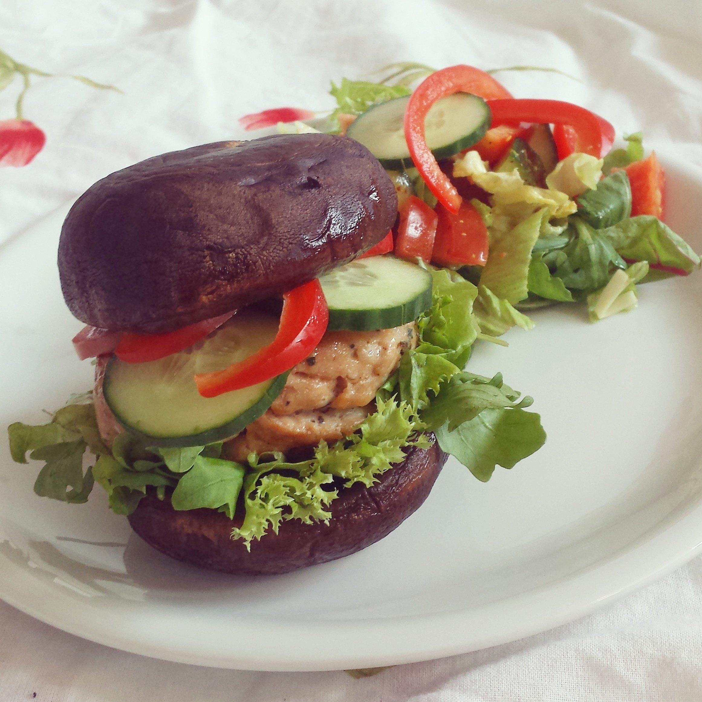 Gezonde portobello hamburger