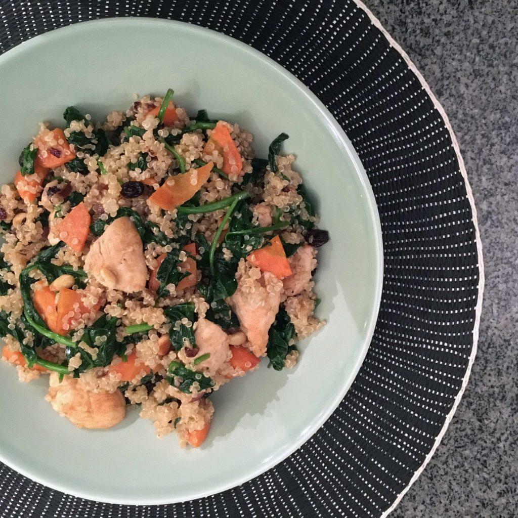 Quinoa met spinazie en wortelen
