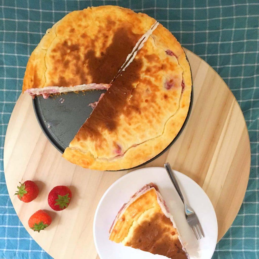 Eiwitrijke aardbeiencheesecake