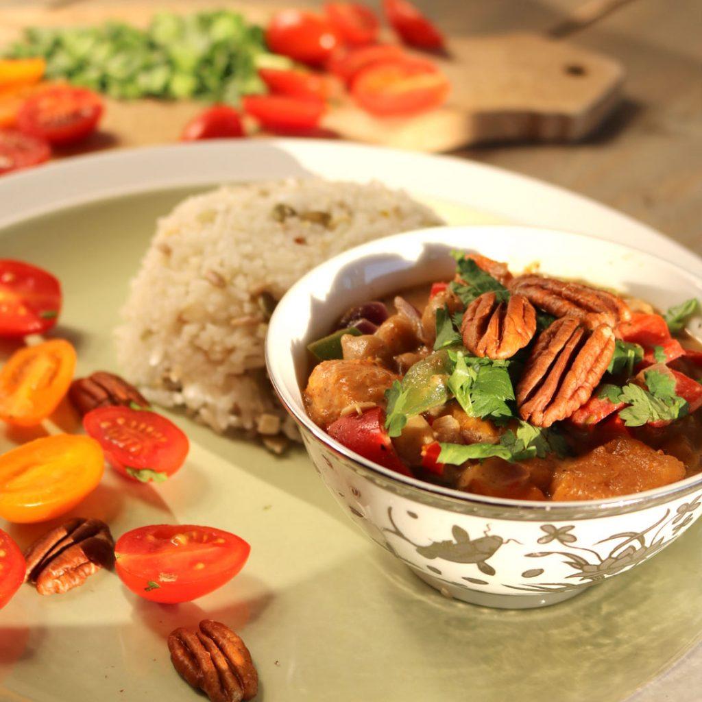 Rijkgevulde zoete aardappel curry