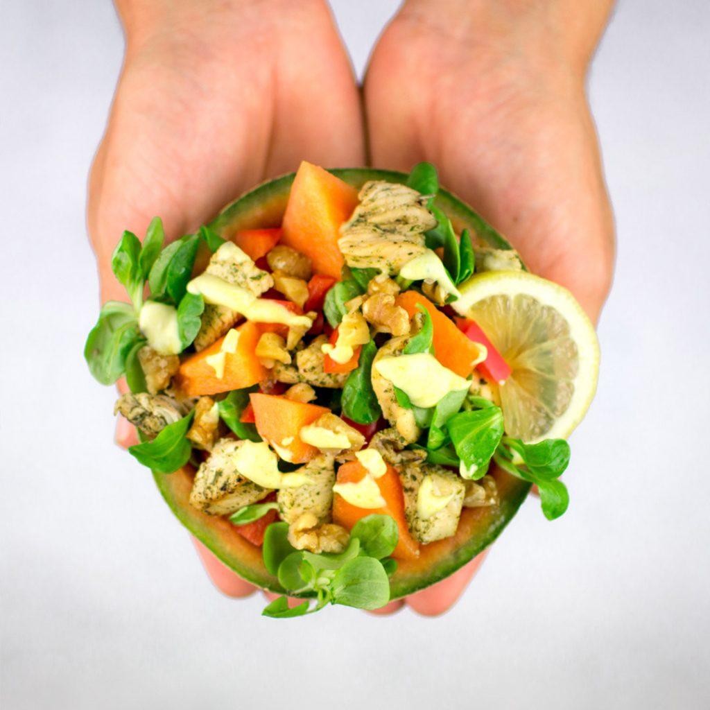 Frisse salade met kip en meloen