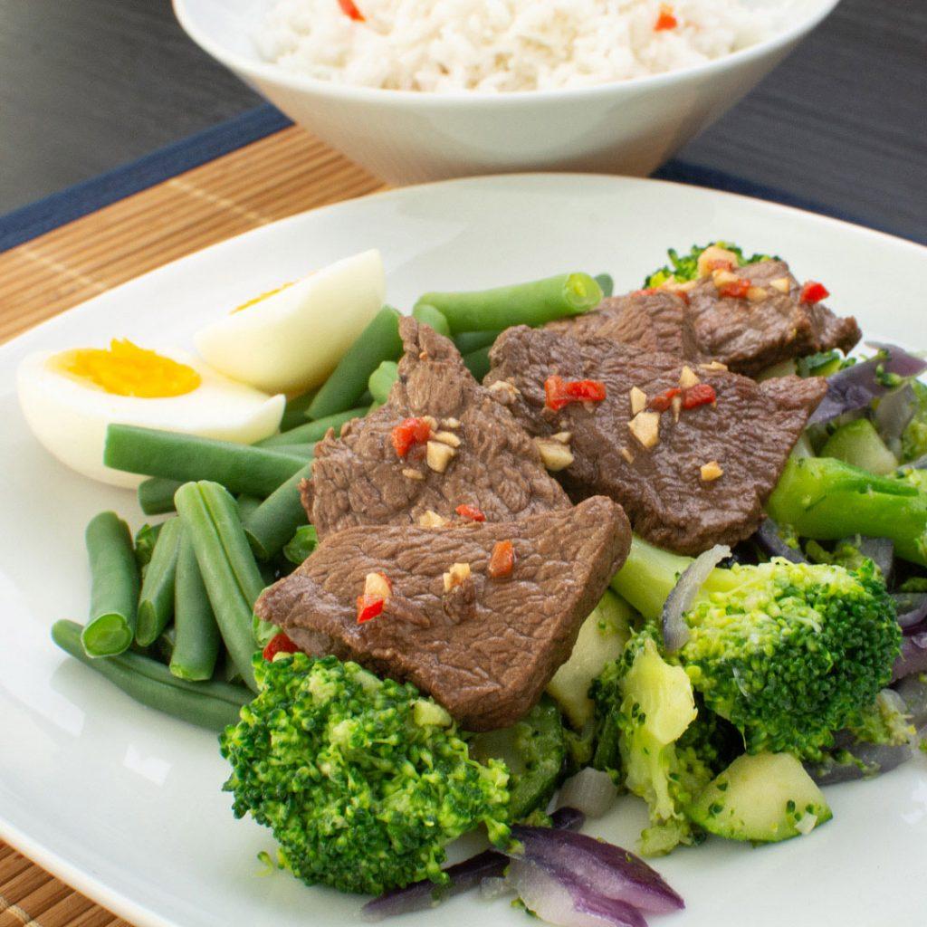 Oosterse roerbak met biefstuk