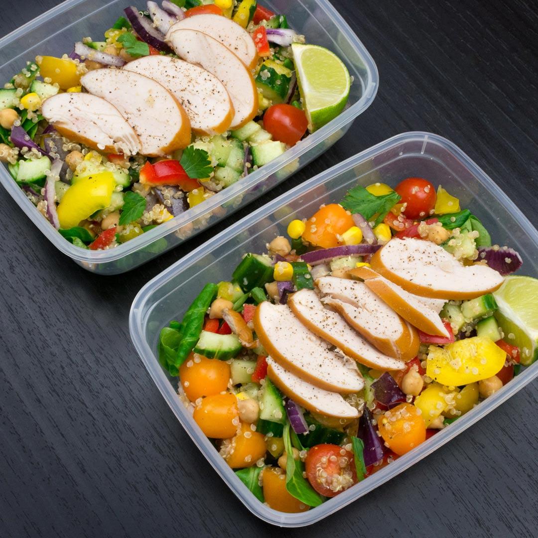 Mealprep salade met kip