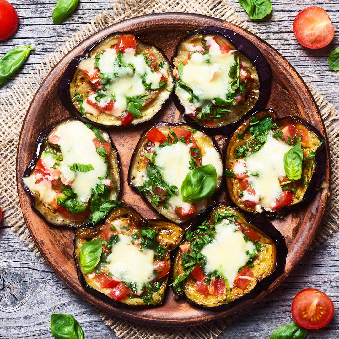 aubergine pizza recept